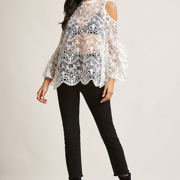 Sheer Lace Open-Back Top
