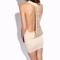 Apricot Sexy Krazy Backless Sequined Dress