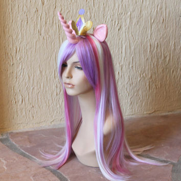 Princess Cadance costume cosplay wig - purple white pink streaked wig / my little pony cosplay / alicorn pony / friendship is magic