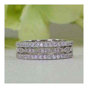 French Pavé And Art Deco Style Three Rows Band Fine Quality Cubic Zirconia Wedding Band Ring Set In Sterling Silver