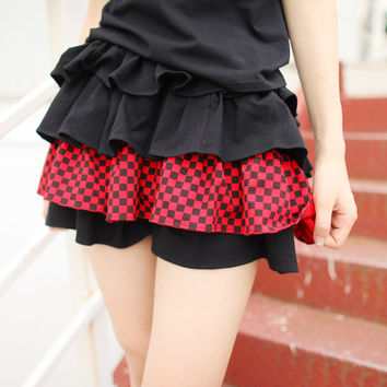 Dolly Delly Harajuku Black and White Striped/Checkered Mini Skirt Girl's Punk Skort for Summer