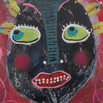 Weird Outsider Art Brut Raw Primitive Geeky Self Taught Artist Goth Fantasy Portrait Painting Street Ugly Pop Surrealism Primitive Big Eye