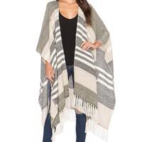 AYNI Palmito Long Cape in Beige, Green, Grey & Lavender
