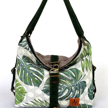 Convertible backpack, Canvas bag, Canvas backpack, Green rucksack, Weekender bag, Tropical fabric bag, Exotic leaves, Fabric bag