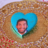 Tom Haverford - Parks and Recreation Sweet Heart Brooch - Aziz Ansari