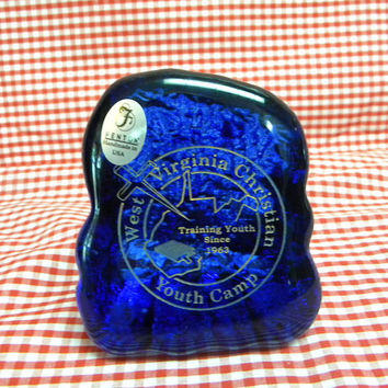 Fenton special edition neodymian glass paperweight for church camp with label