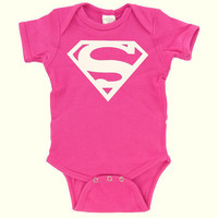 Superman  Onesuit  Hot Pink  Baby Girl  by DearlyLovedBoutique