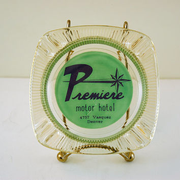 Vintage Glass Ashtray, Premiere Motor Hotel, Denver Colorado, Retro 1950s Artwork