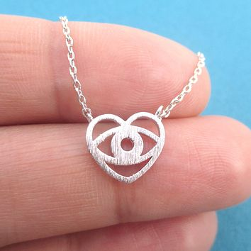 Eye Heart You Love is in the Eyes of the Beholder Heart Shaped Pendant Necklace