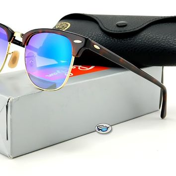 Ray-Ban CLUBMASTER Sunglasses   RB3016 Tortoise Gold / Blue Gradient Flash Lens