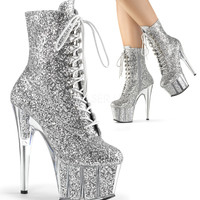 Silver Glitter Filled Platform 7 Inch Stripper Ankle Boot