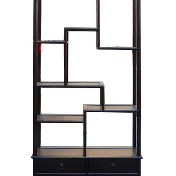Simple Oriental Uneven Open Curio Display Cabinet ss859S
