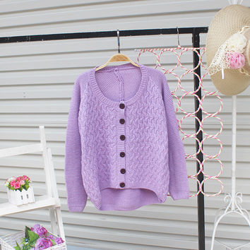 Cardigan Pure Color Elbow Patch Knit Sweater