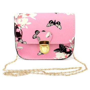 Women Butterfly Flower Printing Handbag Shoulder Bag Tote Messenger Bag
