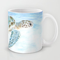 Tortue verte / Green Turtle Mug by Savousepate