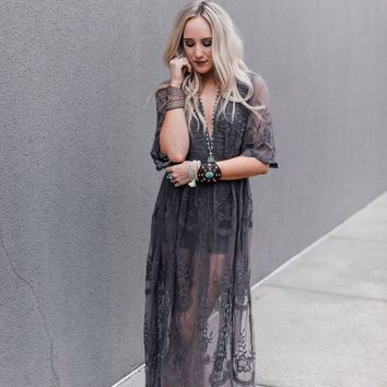 In The Deep Lace Maxi Romper - Midnight