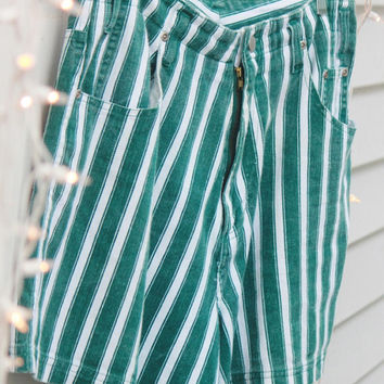 Vintage Sripes High Waited Shorts, Retro Green Shorts