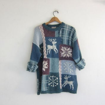 vintage ugly Christmas sweater / tacky christmas cardigan sweater / holiday party sweater / Deer and Snowflakes