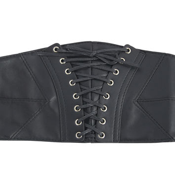 Gothic Black Faux Leather Lace-Up Stretch Corset Belt