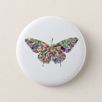Colorful mosaic butterfly button