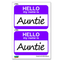 Auntie Hello My Name Is - Sheet of 2 Stickers