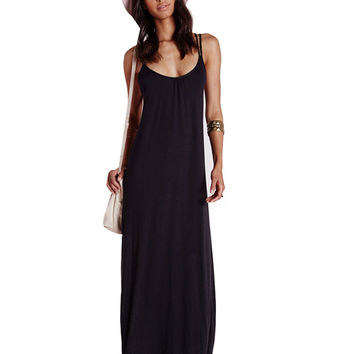 Spaghetti Strap Scoop Neck Cutout Back Maxi Dress