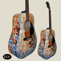 Juleez Hand Painted Fender Acoustic Guitar Dragonfly Peacock by Julie Borden HOLIDAY SALE