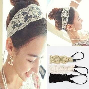 1 PC Chic Retro Elegant Women's Fashion Fabric Lace Headband Wide Hair Band Wide Headwraps Hair Accessories = 1958057028