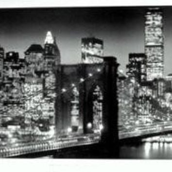 New York Manhattan Twin Towers Skyline Poster 21x60
