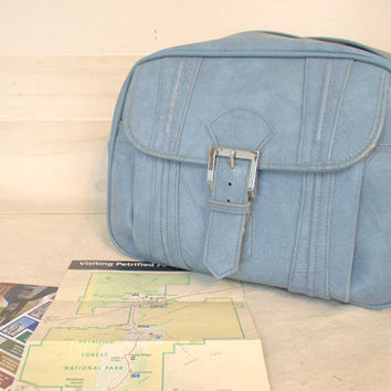 American Tourister 1970s Shoulder Bag, Blue Retro Carry On Messenger Bag,  Overnight Luggage