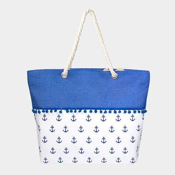 Printed Pom Tote Bag with Rope Handle