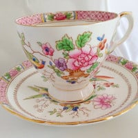 Tuscan Bird of Paradise Pink Teacup & Saucer Set - English Bone China Vintage - 1940s  Footed white gold flowers birds imari lotus flower