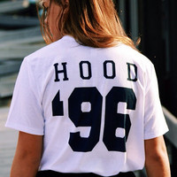 HOOD 96 - T shirt Tee Tumblr blanc unisexe fashion women pink white tee shirt tumblr graphic size S M L - 5sos one direction