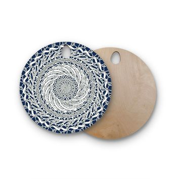 "Patternmuse ""Mandala Spin Navy"" Blue White Round Wooden Cutting Board"