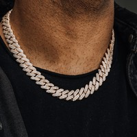 Diamond Prong Cuban Link Choker (12mm) in Yellow & White Gold