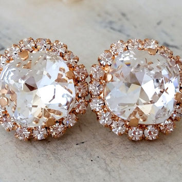 Rose gold white clear crystal stud earrings, Bridal earrings, Bridesmaids gift, Swarovski studs, Crystal stud earrings, Diamond stud earring