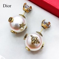 DIOR Popular Women Bee White Pearl Bee Earrings Jewelry Accessories