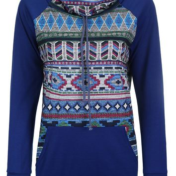 Streetstyle  Casual Cowl Neck Kangaroo Pocket Printed Sweatshirt