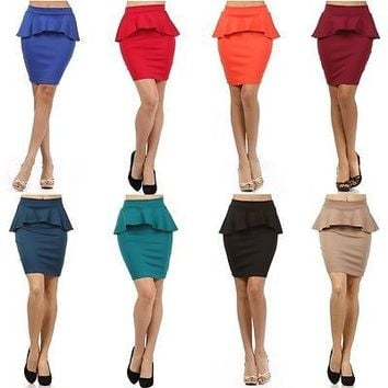 Sexy High Waist Banded Ponte Knit Frill Peplum Skater Bodycon Mini Pencil Skirt