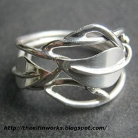 Handcrafted Sterling Silver Artisan Ring with Leaves and Branches | ElfinWorks - Jewelry on ArtFire