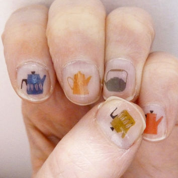 tea pot nail transfers