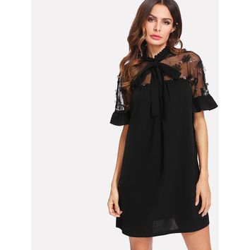 Black Tie Neck Short Sleeve Shift Dress