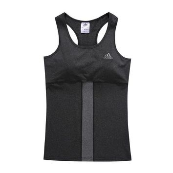 Adidas Woman Fashion Print Gym Sport Cotton Sleeveless Tunic Shirt Top Blouse-2