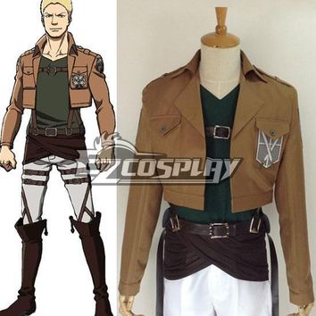 Cool Attack on Titan Japanese Anime Outfit  Reiner Braun Crops Cosplay Costume E001 AT_90_11