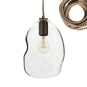 Clear Bubble Organic Hand Blown Glass Pendant Light- Ship Rope