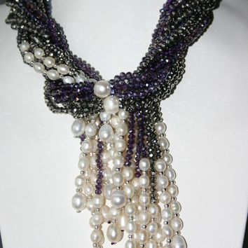 Grey Purple Crystal And White Freshwater Pearl Necklace