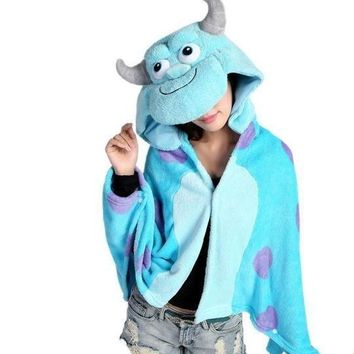 Anime Sulley Sully Monsters University Hooded Wrap Women Men Cosplay Cloak Coral Fleece Shawl Cape Blanket Mantissa Costumes