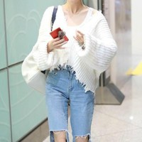 Fashion Tassel V-Neck Loose Long Sleeve Solid Color Sweater Women Short Knitwear Tops