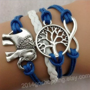 Infinity, infinity bracelet, elephant bracelet, Wishing Tree bracelet, leather bracelet, charm bracelet, friendship and gifts