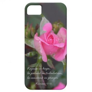 Pink Rose, Bible Verse about Hope, Romans 12:12 iPhone 5 Case from Zazzle.com